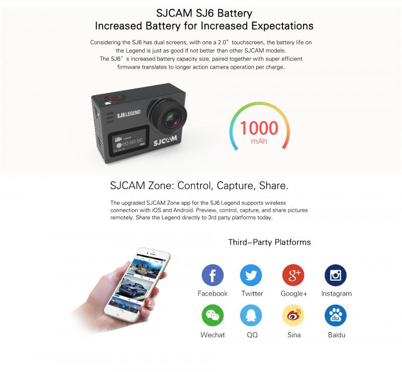 SJ cam SJ6 Legend kết nối được với điện thoại qua WiFi