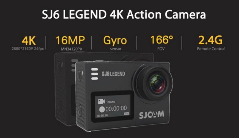 SJ6 Legend chống rung Gyro, độ phân giải 16 Mp, góc quay rộng 166 độ