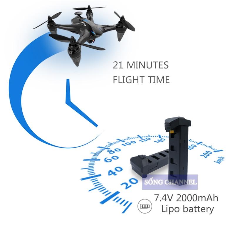 pin của Flycam GW 198 GPS có thế bay lên tới 21 phút
