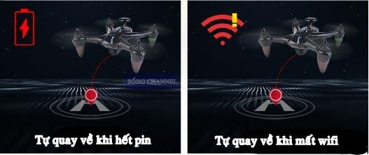 Flycam GW 198 GPS tự động quay về khi hết pin và khi mất tín hiệu