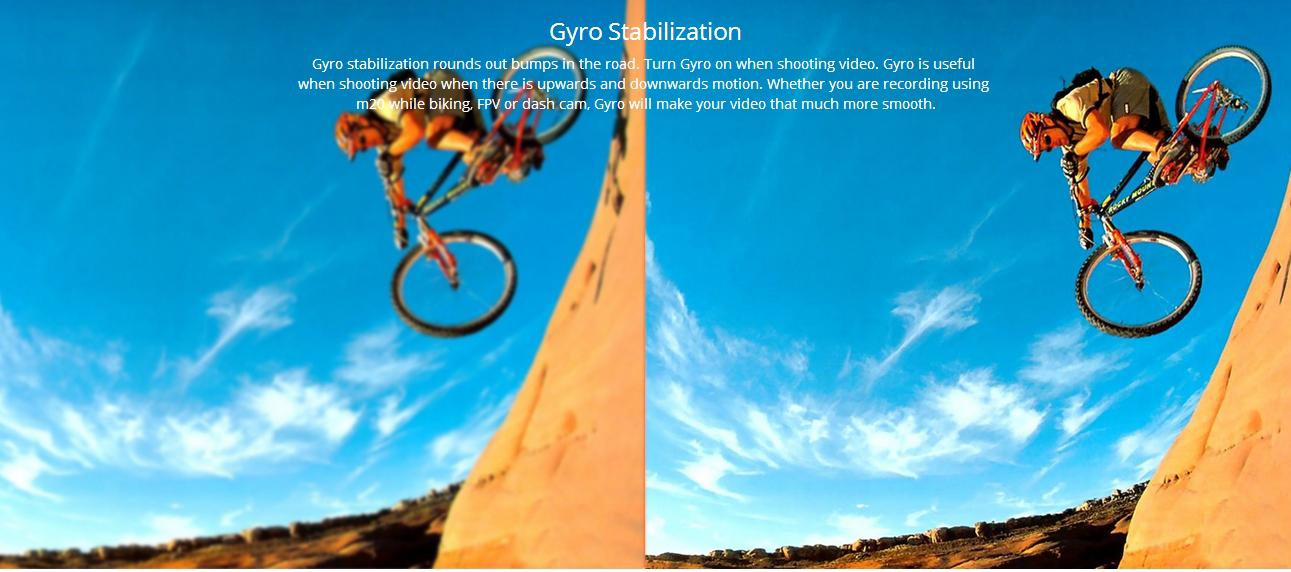 SJCAM M20 có khả năng chống rung Gyro