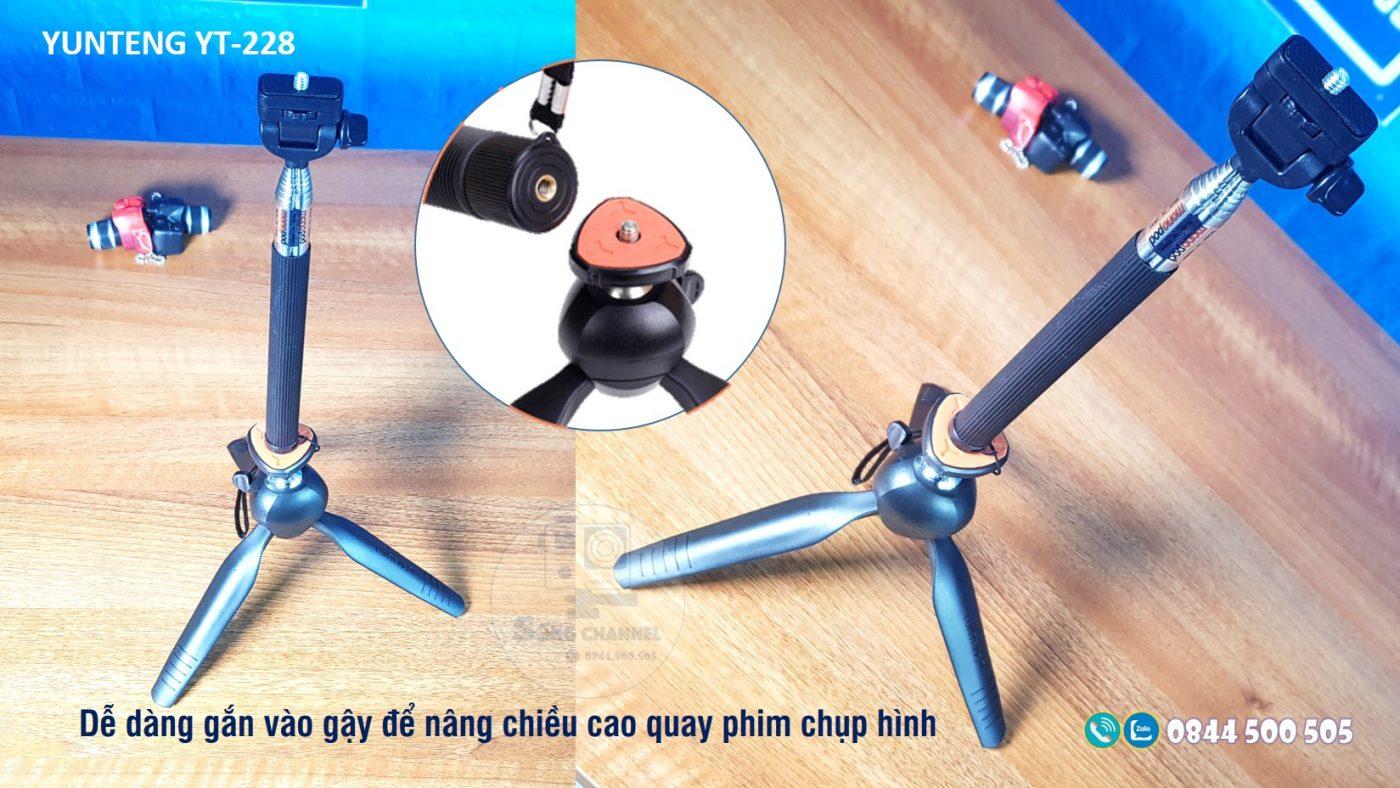 Yunteng YT-228 dễ dàng kết nối với gậy quay phim
