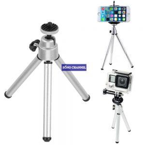 Tripod mini 03 chân bằng kim loại, dùng cho điện thoại, camera hành động, camera phượt.