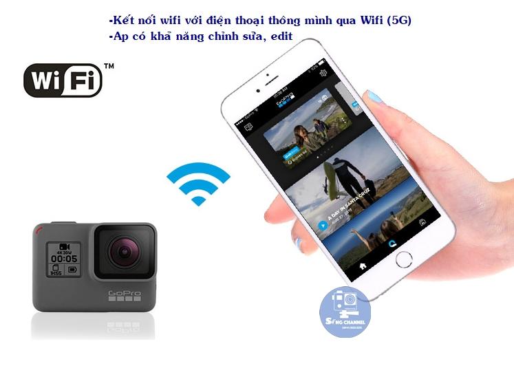 Gopro hero 6 black với khả năng kết nối wifi với điện thoại 5Ghz