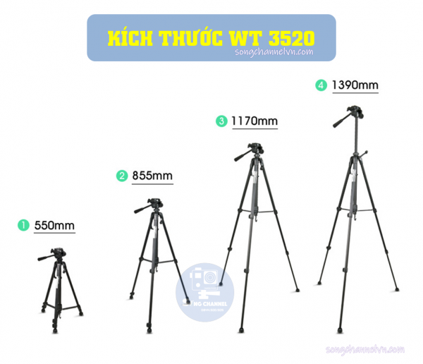 Kích thước Tripod Weifeng WT-3520