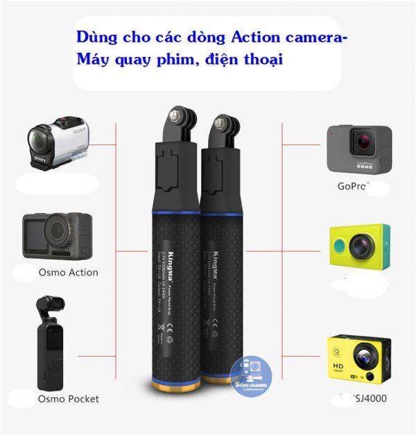Tay cầm kiêm sạc Kingma có thể dùng cho nhiều loại thiết bị như action camera, gopro, máy quay, điện thoại