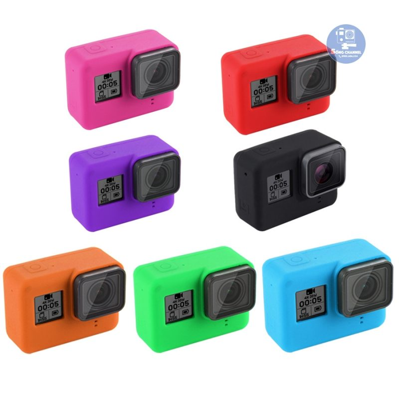 Case Silicon bảo vệ cho GoPro Hero 5, 6, 7 Black + Nắp đậy ống kính